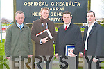 LETTER OF CONCERN: Member's of the Labour Party handing in a letter of concern regarding the threat to Hospital services at Kerry General Hospital on Monday l-r: Dan Galvin (Labour Tralee Council Candidate), A. J. Spring (Labour Tralee Council & Kerry County Candidate), Senator Alan Kelly (European Parliament Candidate Ireland Munster South) and Brian Hurley (Labour Tralee Council Candidate).