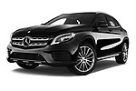 Stock pictures of low aggressive front three quarter view of 2017 Mercedes Benz GLA AMG Line 5 Door SUV