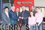 SUPER WINNER: At Kellihers Garage, Rathass, Tralee, on Wednesday, Eamon OSullivan (Secretary Kerry County Board) presented John Sheehy, Duagh, with the keys of a Toyota Corolla which he won in the Kerry Players Holiday Fund Draw. Also in picture are his family. L-r: Ann Sheehy, Eamon OSullivan (Secretary Kerry County Board), Tom OConnor (Kellihers Garage), John, Grainne and Sarah Sheehy and Tim Kelliher (Kellihers Garage).