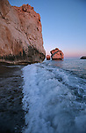Spectacular sunset lights on Aphrodite's rock on the southeern coast of Pafos. Known in Greek as Petra  tou romiou (Rock of Romios)