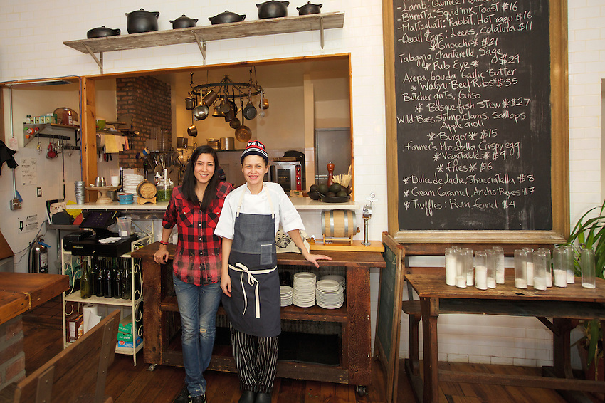 Brooklyn, NY - March 5, 2016: Chef Ella and partner Kano at Maite, in Bushwick, which serves Ecuadorian and Colombian fare.<br /> <br /> CREDIT: Clay Williams for Food Republic<br /> <br /> &copy; Clay Williams / claywilliamsphoto.com