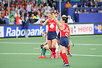The Hague, Netherlands, June 10: Michelle Vittese #9 of USA and Rachel Dawson #8 of USA celebrate after scoring during the field hockey group match (Women - Group B) between USA and South Africa on June 10, 2014 during the World Cup 2014 at GreenFields Stadium in The Hague, Netherlands. Final score 4-2 (1-0) (Photo by Dirk Markgraf / www.265-images.com) *** Local caption ***