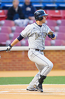 Matt Skole #16 of the Georgia Tech Yellow Jackets follows through on his swing against the Wake Forest Demon Deacons at Gene Hooks Field on April 16, 2011 in Winston-Salem, North Carolina.  Photo by Brian Westerholt / Four Seam Images
