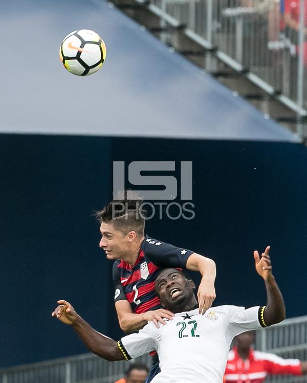 East Hartford, Connecticut - July 1, 2017: International friendly. U.S. Men's National Team (USMNT) (red/blue) defeated Ghana (white), 2-1, at Pratt & Whitney Stadium at Rentschler Field.