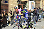 Filippo Pozzato (ITA) Lampre-Merida before the start of the 2015 Strade Bianche Eroica Pro cycle race 200km over the white gravel roads from San Gimignano to Siena, Tuscany, Italy. 7th March 2015<br /> Photo: Eoin Clarke www.newsfile.ie