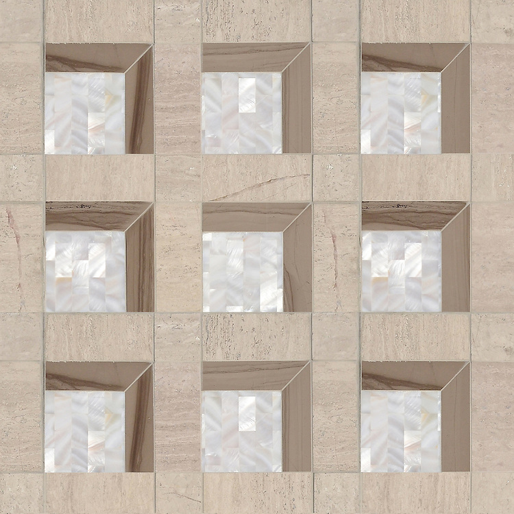 Paseo, a handmade mosaic shown in polished Driftwood, honed Whitewood and Shell, was designed by Paul Schatz as part of the Illusions® collection by New Ravenna.