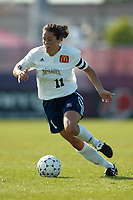 Julie Foudy of the San Diego Spirit with the ball during a May 25th 2-1 loss to the New York power at Mitchel Athletic Complex.