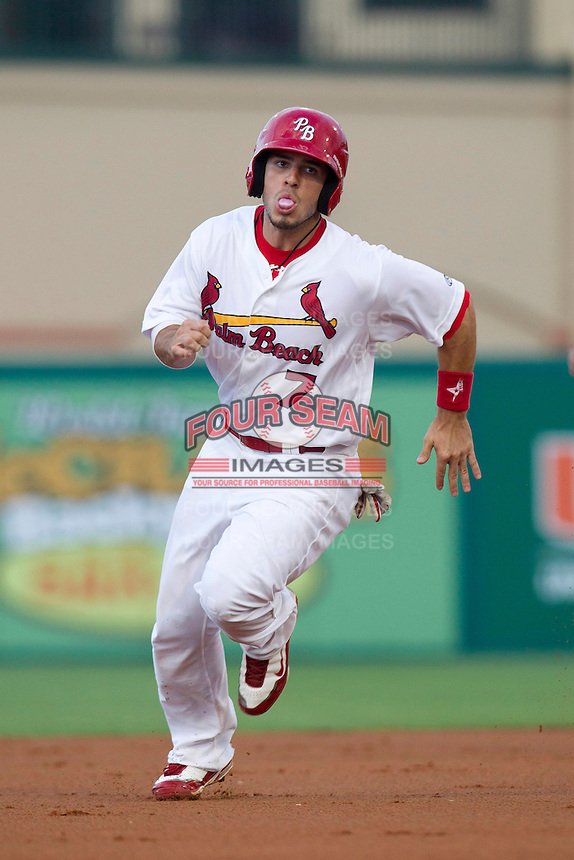 Palm Beach Cardinals third baseman Alan Ahmady #7 during a game against the Fort Myers Miracle at Roger Dean Stadium on May 1, 2012 in Jupiter, Florida.  Palm Beach defeated Fort Myers 9-3.  (Mike Janes/Four Seam Images)