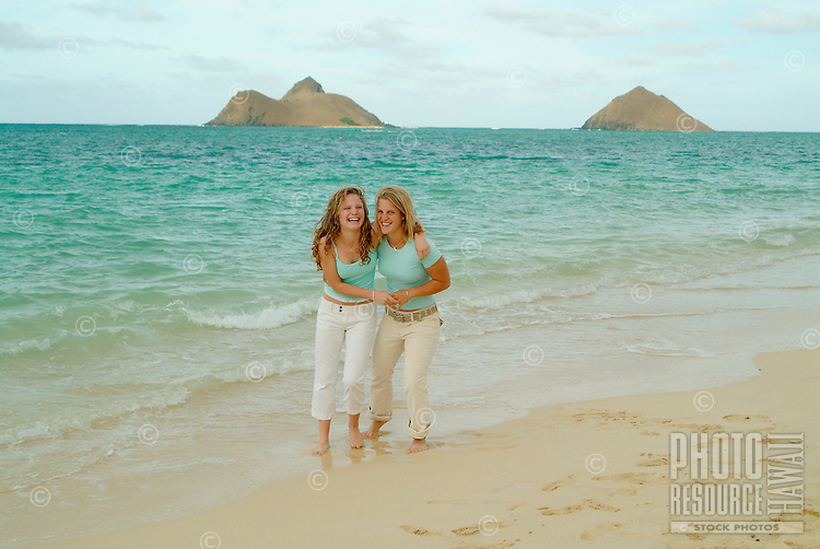 Portrait of two sisters on Lanikai beach