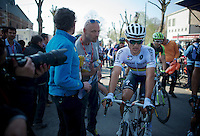 World Champion Michal Kwiatkowski (POL/Ettix-Quickstep) post-race<br /> <br /> 79th Fl&egrave;che Wallonne 2015