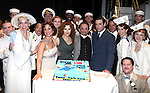 """Stephanie J. Block, Bernadette Peters, Joel Grey & Colin Donnell.Bernadette Peters surprises Joel Grey on his 80th birthday with a cake backstage at """"Anything Goes"""" at the Stephen Sondheim Theatre in New York City on April 11, 2012 © Walter McBride / WM Photography  Ltd."""