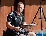 18.06.18  Jordan Milsom checking the fitness schedules for the Rangers players