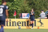 Cary, North Carolina  - Saturday April 29, 2017: Abby Dahlkemper during a regular season National Women's Soccer League (NWSL) match between the North Carolina Courage and the Orlando Pride at Sahlen's Stadium at WakeMed Soccer Park.
