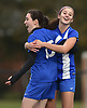 Nicole Guarino #15 of Portledge, left, gets congratulted by Ava Pascarella #9 after scoring a goal to give her team a 1-0 lead over The Stony Brook School in the PSAA varsity girls soccer final at Cantiague Park in Hicksville on Friday, Oct. 26, 2018. Pascarella scored the second and third goals of the match as Portledge won 3-0 to claim the league championship.