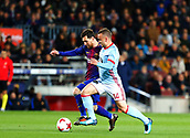 11th January 2018, Camp Nou, Barcelona, Spain; Copa del Rey football, round of 16, 2nd leg, Barcelona versus Celta Vigo; Lionel Messi challenges for the ball with Lobotka of Celta on the edge of the box