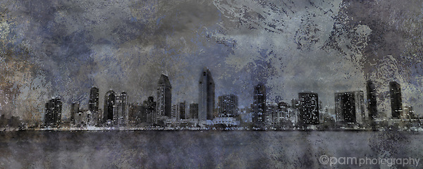 Panoramic etching of the San Diego skyline in blues and grays