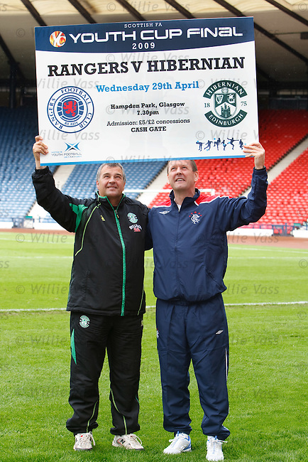 Rangers and Hibs Youth team coaches Billy Kirkwood and Alistair Stevenson at Hampden ahead of Wednesday night's Youth Cup Final