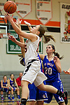 02/05/13--Gladstone Gladiators guard Molly Webster (15) drives to the basket against La Salle Prep Falcons forward Andrea Novak (15)  in the first half at Gladstone High School.....Photo by Jaime Valdez.