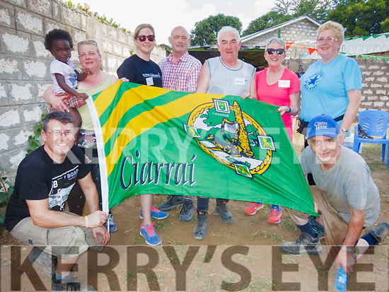 L-R Mark Greer, Tralee, Kimba, Kikambala, Hanna Curtin&Rachel Flood, Castleisland, Robert O'Mahony, Cloghane, Charlie Farrelly, Castleisland, Joan Casey, Ballyheigue with Martina O'Mahony&Willie Reidy, Castleisland who are out in Mombasa in Kenya, Africa, after volunteering to to give their time free to help build a modern rescue centre for little boys. The picture was taken on Saturday last, the 4th day of the project , in 38 º , which will open on February 21st next by the Irish Ambassador in Kenya Dr Vincent O'Neill.