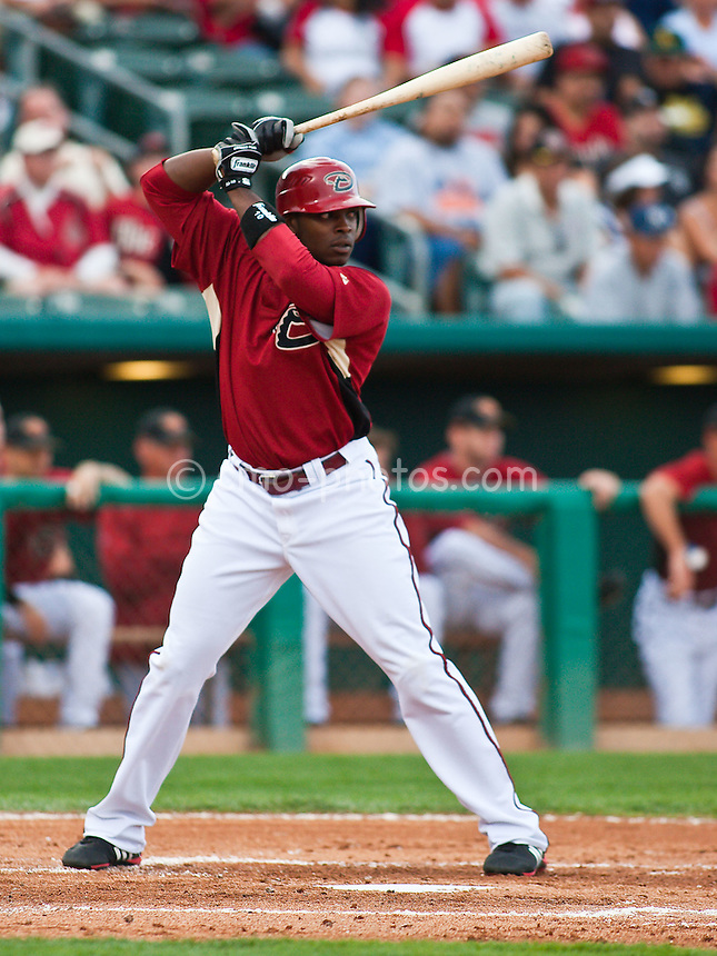 Mar 4, 2009; Tucson, AZ, USA; Arizona Diamondbacks right fielder Justin Upton waits for a pitch during an exhibition game against Mexico at Tucson Electric Park.