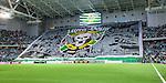 Stockholm 2014-09-28 Fotboll Superettan Hammarby IF - IK Sirius :  <br /> Vy &ouml;ver Tele2 Arena med Hammarbys supportrar och en stor overheadflagga &ouml;ver ena kortsidan innan matchen mellan Hammarby och Sirius <br /> (Foto: Kenta J&ouml;nsson) Nyckelord:  Superettan Tele2 Arena Hammarby HIF Bajen Sirius IKS supporter fans publik supporters inomhus interi&ouml;r interior Ultra Boys Tifo Overhead Flagga