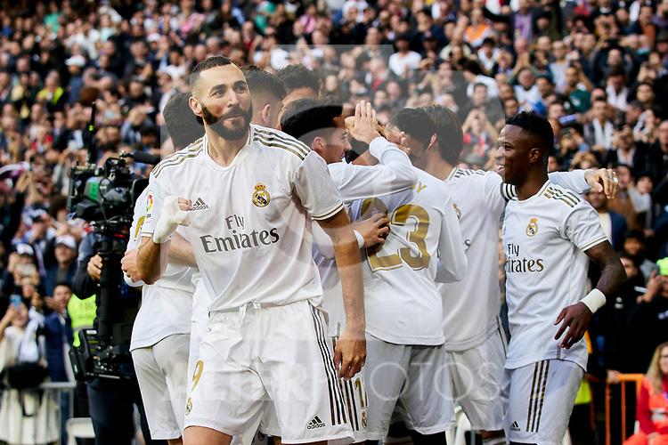 Karim Benzema of Real Madrid celebrates goal during La Liga match between Real Madrid and Atletico de Madrid at Santiago Bernabeu Stadium in Madrid, Spain. February 01, 2020. (ALTERPHOTOS/A. Perez Meca)