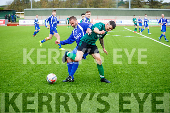 FAI Junior Cup 3rd Round Fenit Samphires v Kilrush Rangers at Mounthawk Park on Sunday. In Action Fenit's Sean Allen and Rangers Robert Casey