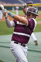 Mississippi State designated hitter Trey Porter (32) warms up during batting practice before Game 11 of the 2013 Men's College World Series against the Oregon State Beavers on June 21, 2013 at TD Ameritrade Park in Omaha, Nebraska. The Bulldogs defeated the Beavers 4-1, to reach the CWS Final and eliminating Oregon State from the tournament. (Andrew Woolley/Four Seam Images)