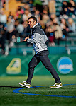 26 October 2019: University of Vermont Catamount Head Coach Rob Dow on the field after first half action against the University of Massachusetts Lowell River Hawks at Virtue Field in Burlington, Vermont. The Catamounts rallied to defeat the River Hawks 2-1, propelling the Cats to the America East Division 1 conference playoffs. Mandatory Credit: Ed Wolfstein Photo *** RAW (NEF) Image File Available ***