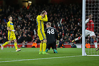 Denis POLYAKOV of FC BATE Borisovholds his head in his hands after scoring an own to make the score 4-0 during the UEFA Europa League match between Arsenal and FC BATE Borisov  at the Emirates Stadium, London, England on 7 December 2017. Photo by David Horn.