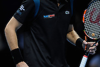 The 'Play 4 Paris' logo as well as the Eiffel Tower Peace logo worn by Pierre-Hugues Herbert (FRA) / Nicolas Mahut (FRA) in honour of the victims of the Paris Terror Attack during Day Two of the Barclays ATP World Tour Finals 2015 played at The O2, London on November 16th 2015