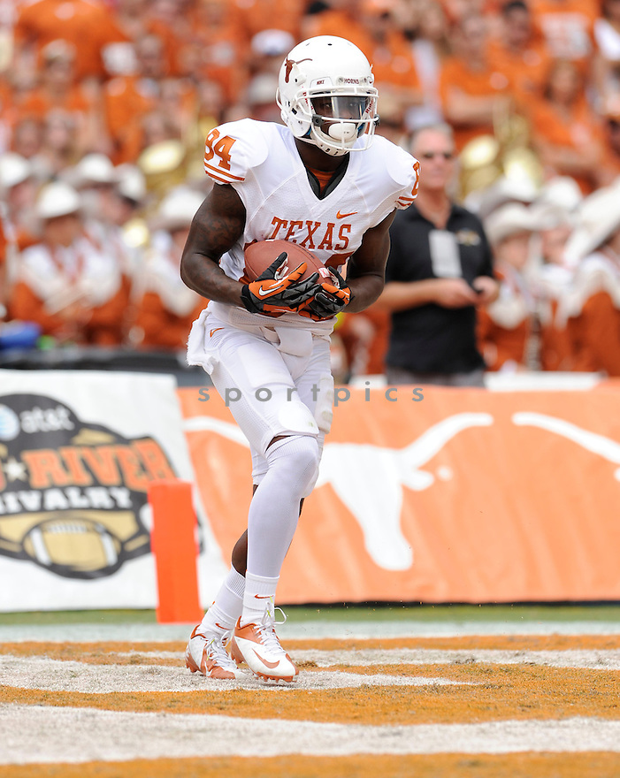 Texas Longhorns  Marquise Goodwin (84) in action during a game against Oklahoma on October 13, 2012 at the Cotton Bowl in Dallas Texas. Oklahoma beat Texas 63-21.