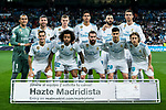 Players of Real Madrid line up and pose for a photo prior to the La Liga 2017-18 match between Real Madrid and Athletic Club Bilbao at Estadio Santiago Bernabeu on April 18 2018 in Madrid, Spain. Photo by Diego Souto / Power Sport Images