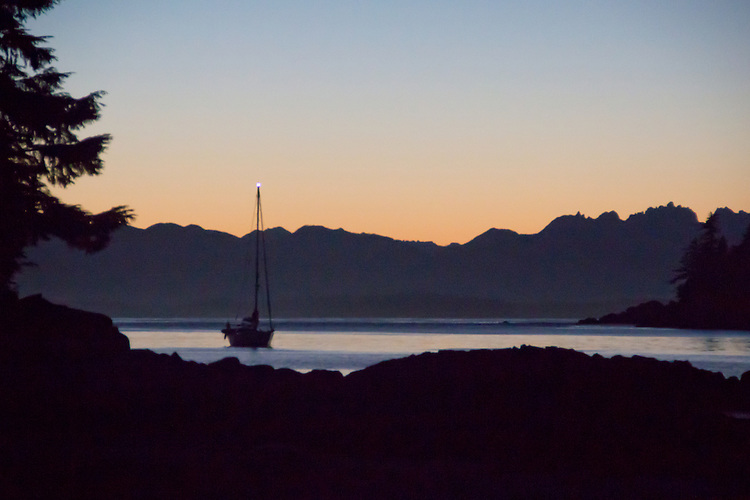 Vancouver Island, Deer Group, British Columbia, Canada, wilderness coast, sailboat at anchor, Diana Island,
