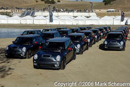 33rd Rolex Monterey Historic Races, 2006<br /> <br /> MINI Cooper S John Cooper Works GPs await delivery to their owners at the Rolex Monterey Historic Automobile races, 2006.<br /> <br /> Please contact me for the full-size image<br /> <br /> For non-editorial usage, releases are the responsibility of the licensee.