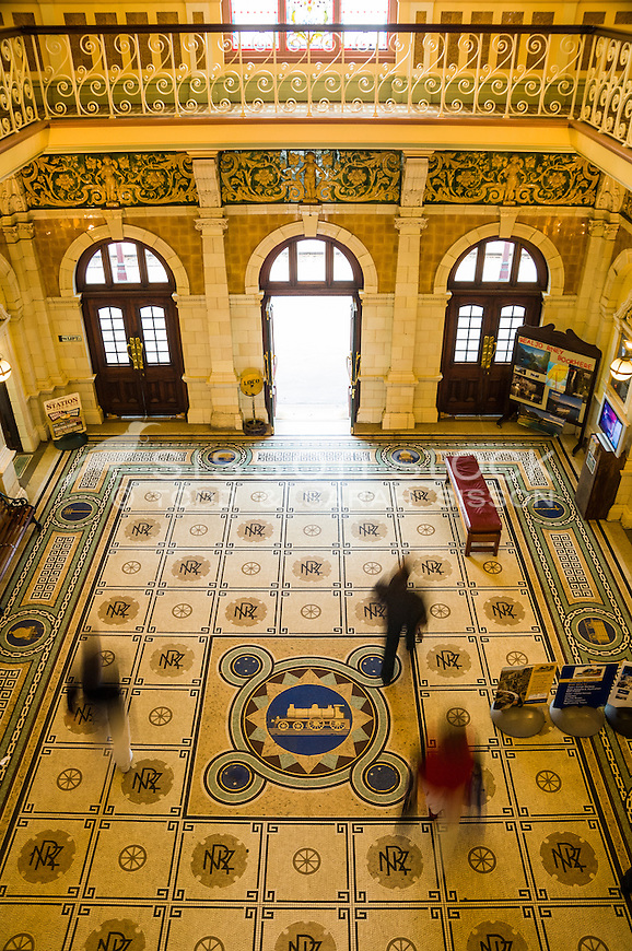 The intricate Mosaic Floor and ornate tile interior of the historic Dunedin Railway Station, Otago, New Zealand - stock photo, canvas, fine art print
