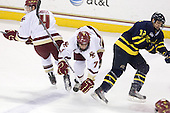 Tommy Cross (BC - 4), Carl Sneep (BC - 7), Brandon Brodhag (Merrimack - 12) - The Boston College Eagles defeated the Merrimack College Warriors 7-0 on Tuesday, February 23, 2010 at Conte Forum in Chestnut Hill, Massachusetts.