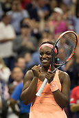 7th September 2017, Flushing Meadows, New York, USA;   Sloan Stephens (USA) celebrates her semi-final win of the US Open on September 07, 2017 at the Billie Jean King National Tennis Center in Flushing Meadow, NY.