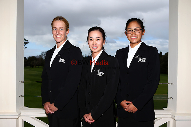 L_R- Zoe Brake, Munchin Keh and Julianne Alvarez. Espirito Santo Team Photoshoot, Royal Auckland Golf Course, Manukau, Auckland, Friday 8 August 2014. Photo: Simon Watts/www.bwmedia.co.nz <br /> All images &copy; NZ Golf and BWMedia.co.nz