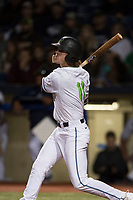 Hillsboro Hops shortstop LT Tolbert (11) follows through on his swing during a Northwest League game against the Salem-Keizer Volcanoes at Ron Tonkin Field on September 1, 2018 in Hillsboro, Oregon. The Salem-Keizer Volcanoes defeated the Hillsboro Hops by a score of 3-1. (Zachary Lucy/Four Seam Images)