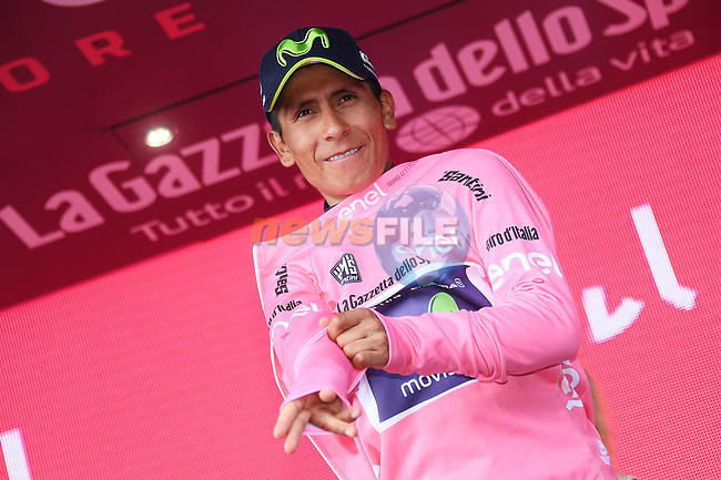 Nairo Quintana (COL) Movistar Team wins Stage 9 and takes over the race leaders Maglia Rosa of the 100th edition of the Giro d'Italia 2017, running 149km from Montenero di Bisaccia to Blockhaus, Italy. 14th May 2017.<br /> Picture: LaPresse/Gian Mattia D'Alberto | Cyclefile<br /> <br /> <br /> All photos usage must carry mandatory copyright credit (&copy; Cyclefile | LaPresse/Gian Mattia D'Alberto)