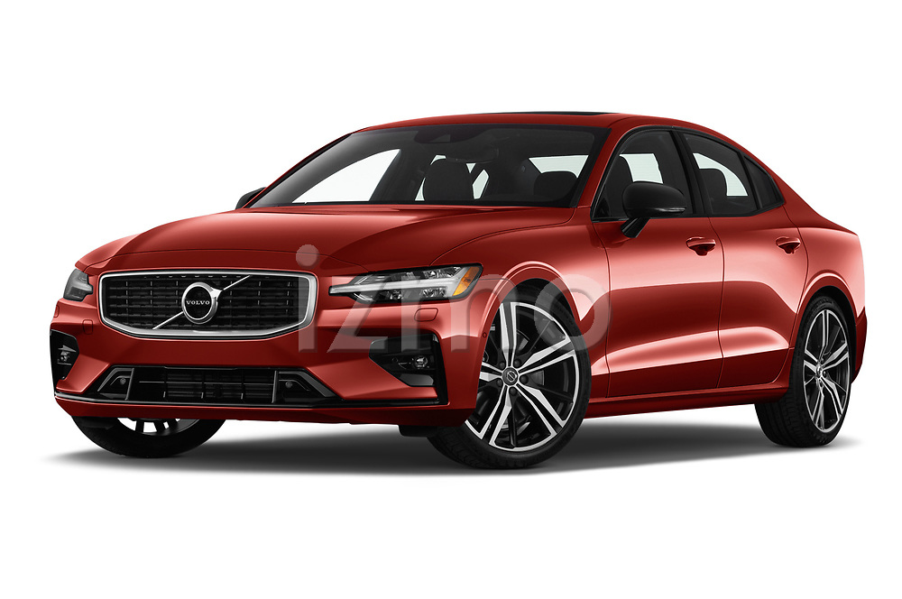 Stock pictures of low aggressive front three quarter view of a 2019 Volvo S60 R-Design 4 Door Sedan