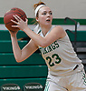 Maddie O'Hagan #23 of Seaford looks for an open teammate during a non-league varsity girls basketball game against Wantagh at Seaford High School on Friday, Dec. 29, 2017. She scored a game-high 24 points to lead the Lady Vikings to a wire-to-wire 65-56 win.