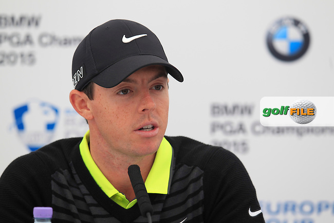 Rory MCILROY (NIR) speaking ahead of the 2015 BMW PGA Championship. Wentworth Golf Club, Virginia Water, Surrey, UK. 20/05/2015.<br />  Picture Fran Caffrey, www.golffile.ie