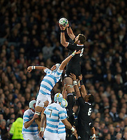 Rugby World Cup Auckland  New Zealand v Argentina Quarter Final 4 - 09/10/2011.Kieran Read  (New Zealand) wins the line out .Photo Frey Fotosports International/AMN Images