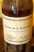 Bottle of Chateau de la Condamine from the time of Mademoiselle Bertrand.. Chateau la Condamine Bertrand. Pezenas region. Languedoc. France. Europe. Bottle.