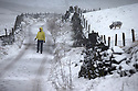 12/01/17<br />  <br /> A well wrapped-up walker explores the lanes near Flash, the highest village in the country, in The Staffordshire Peak District. <br /> <br /> All Rights Reserved F Stop Press Ltd. (0)1773 550665   www.fstoppress.com