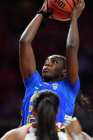 College Park, MD - March 25, 2019: UCLA Bruins forward Michaela Onyenwere (21) scores on a put back during second round game of NCAAW Tournament between UCLA and Maryland at Xfinity Center in College Park, MD. UCLA advanced to the Sweet 16 defeating Maryland 85-80.(Photo by Phil Peters/Media Images International)