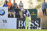 Marcel Siem (GER) tees off the 16th tee during Sunday's Final Round of the 2014 BMW Masters held at Lake Malaren, Shanghai, China. 2nd November 2014.<br /> Picture: Eoin Clarke www.golffile.ie