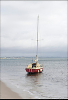 BNPS.co.uk (01202 558833)<br /> Pic: LauraJones/BNPS<br /> <br /> Aground and abandoned - Tim Freeman's boat on Studland beach in Dorset after his latest sailing fiasco.<br /> <br /> An incompetent sailor has been arrested by police after he sparked a 10th rescue operation in a month.<br /> <br /> Accident prone Tim Freeman, 24, was detained on land close to where he had ran his 24ft yacht aground at the beach at Studland, Dorset.<br /> <br /> Coastguards responded after a concerned member of the public reported seeing Mr Freeman stood in the surf struggling to control the vessel with a rope.<br /> <br /> By the time the emergency services arrived the Mr Freeman had left the area. He was found a short while later and arrested by police and taken into custody.<br /> <br /> It is hoped his detention will bring some respite to coastguard and lifeboat crews after Mr Freeman's calamitous solo voyages caused chaos at sea, costing them 20,000 pounds.<br /> <br /> Before the latest rescue effort last night (Thurs), the hapless mariner had triggered nine emergency call outs in a month for incidents ranging from running aground to getting lost.<br /> <br /> After he was rescued five times in a week by the RNLI off the Sussex coast, the Maritime and Coastguard Agency impounded his 21ft yacht for safety reasons.<br /> <br /> But Mr Freeman walked away from the 2,500 pounds vessel and simply went and bought a slightly bigger one called Reginald in Plymouth, Devon.<br /> <br /> After taking to sea again, the Sidmouth lifeboat was called out after he was seen attempting to run the yacht aground.<br /> <br /> He then sailed to Swanage, Dorset, where the local lifeboat was called out twice, once for drifting dangerously close to the shoreline and then after he fouled his propeller with a rope.<br /> <br /> Mr Freeman, from East Sussex, then ran the yacht aground again after getting lost and turning down a shallow channel in Poole Harbour.<br /> <br /> Despite coastguard appeals for him to stick to dry land, the seaman left Wareham Quay yesterday (Thurs) and ran aground at Knoll Beach, Studland.<br /> <br /> He was arrested on behalf of Warwickshire Poli